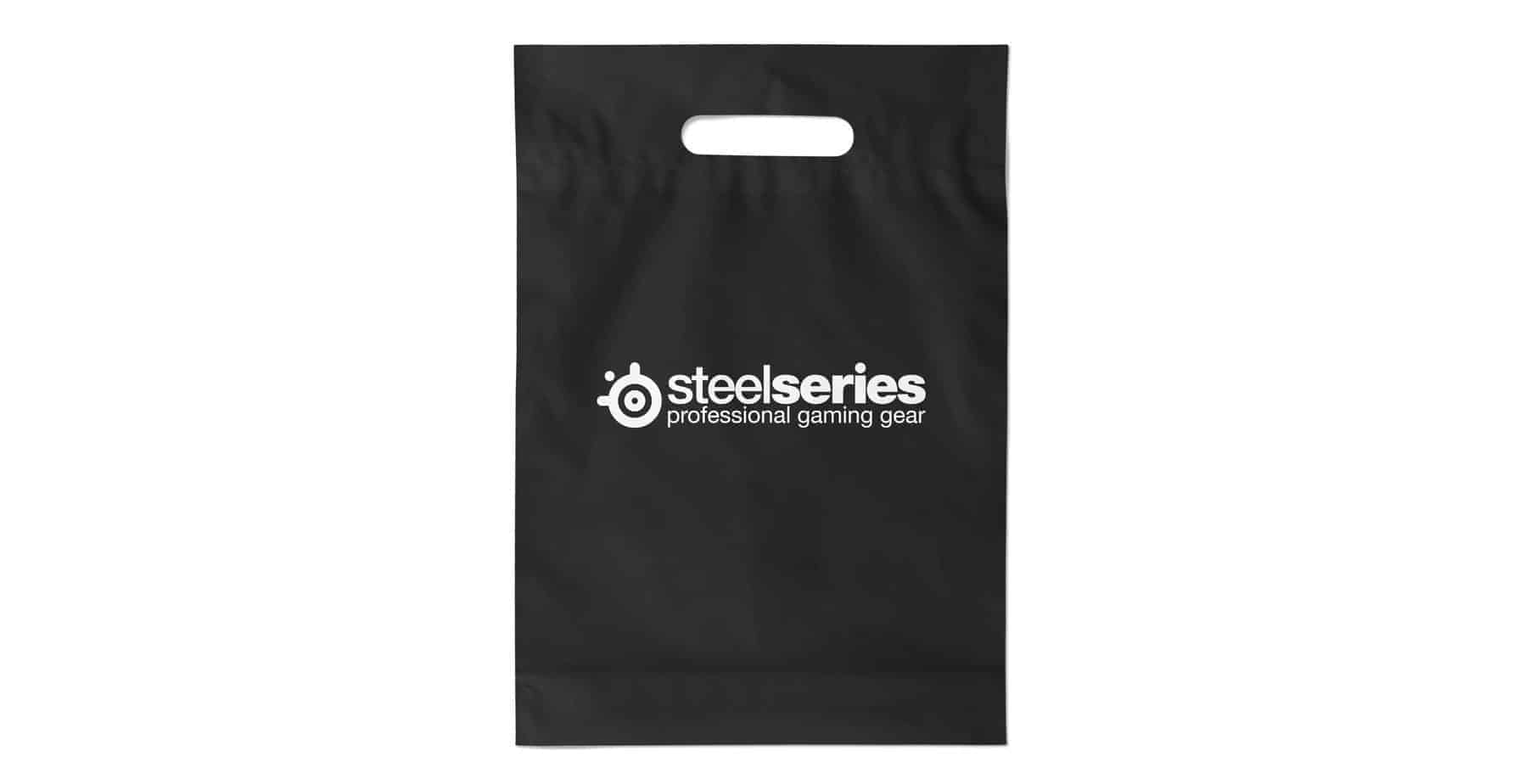 Black Die Cut Branded Plastic Bag