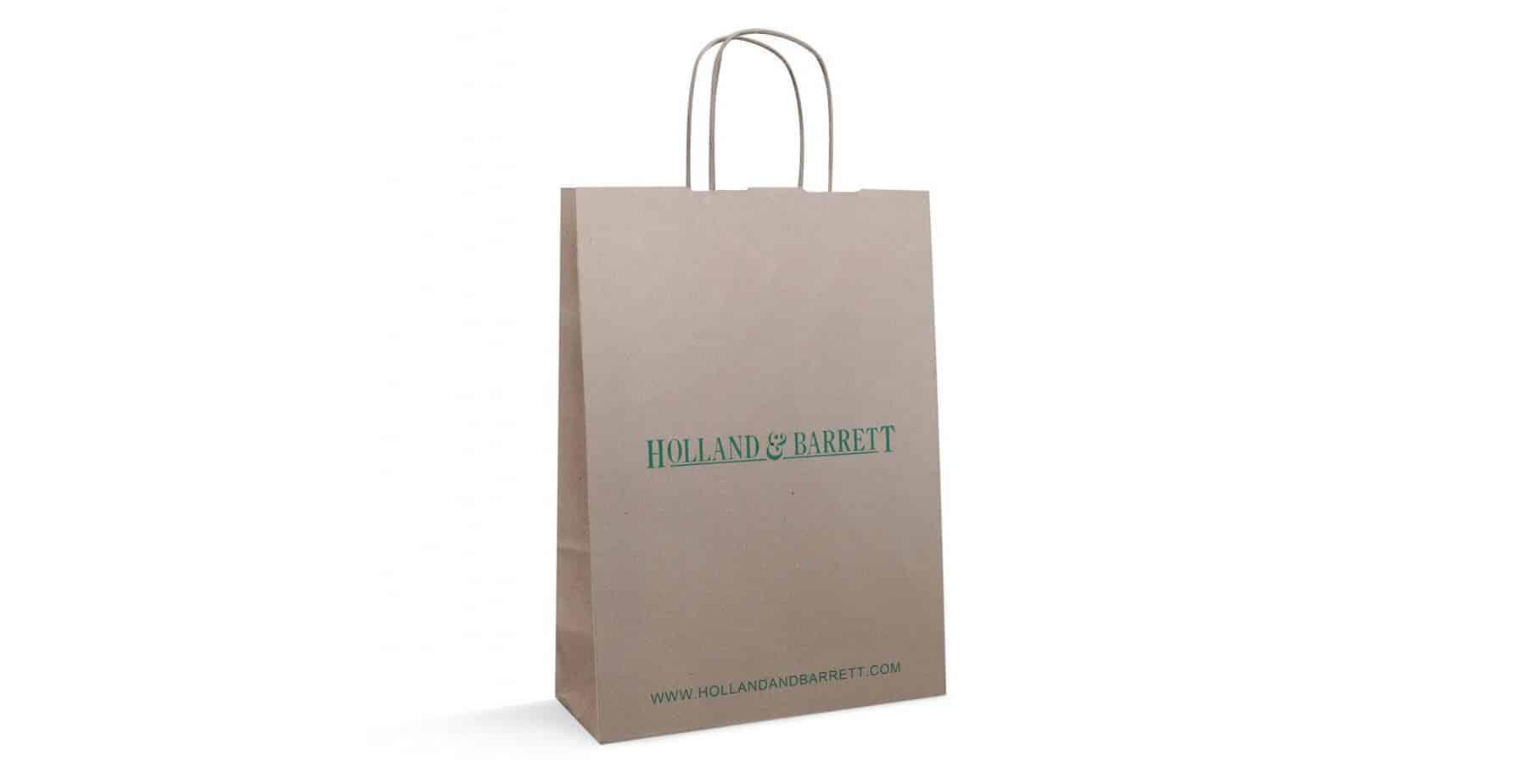 Brown Custom Printed Twisted Handle Bag