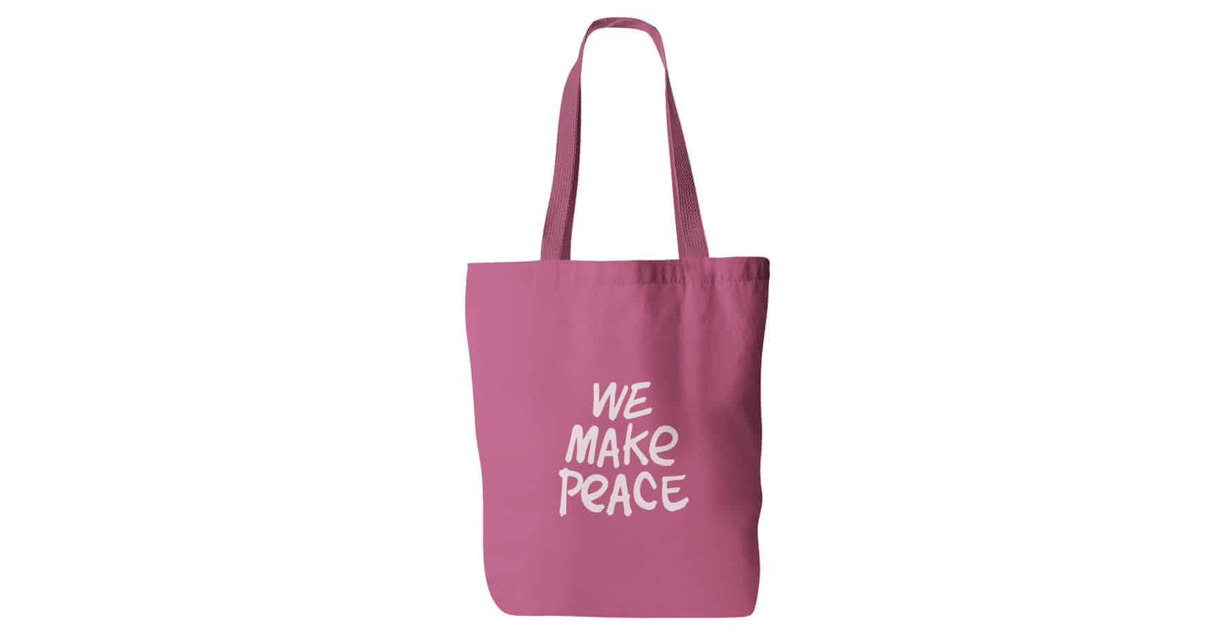 Pink Printed Branded Personalised Tote Cotton Bags