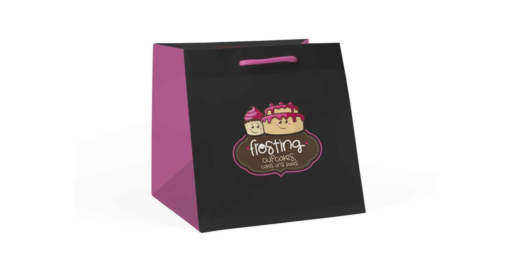 Frosting Cupcakes Custom Branded Wide Bags / Printed Flower & Cake Bags