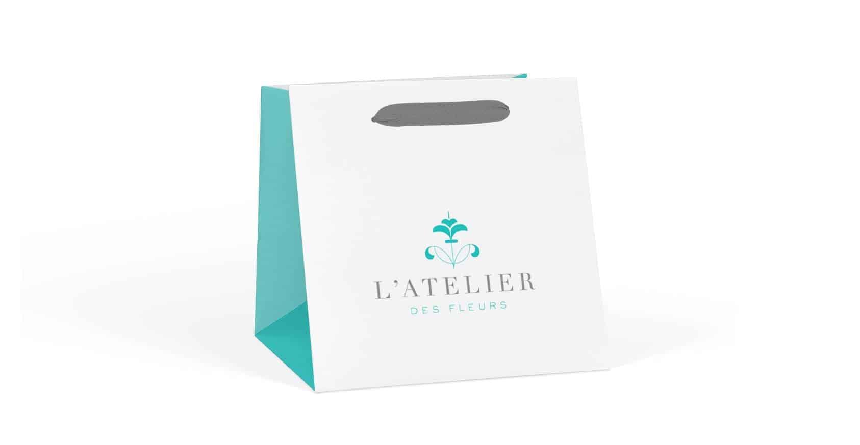 Ribbon Printed Flower Paper Bag