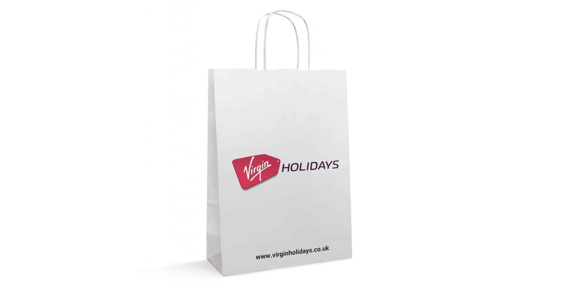 Virgin Holidays White Kraft Custom Printed Twisted Handle Paper Bags