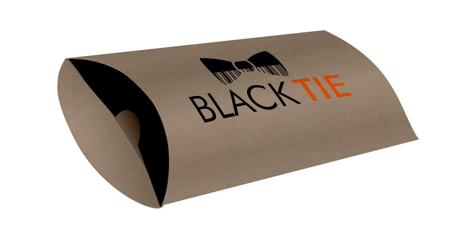 Black Tie Printed Pillow Boxes / Custom Pillow Boxes