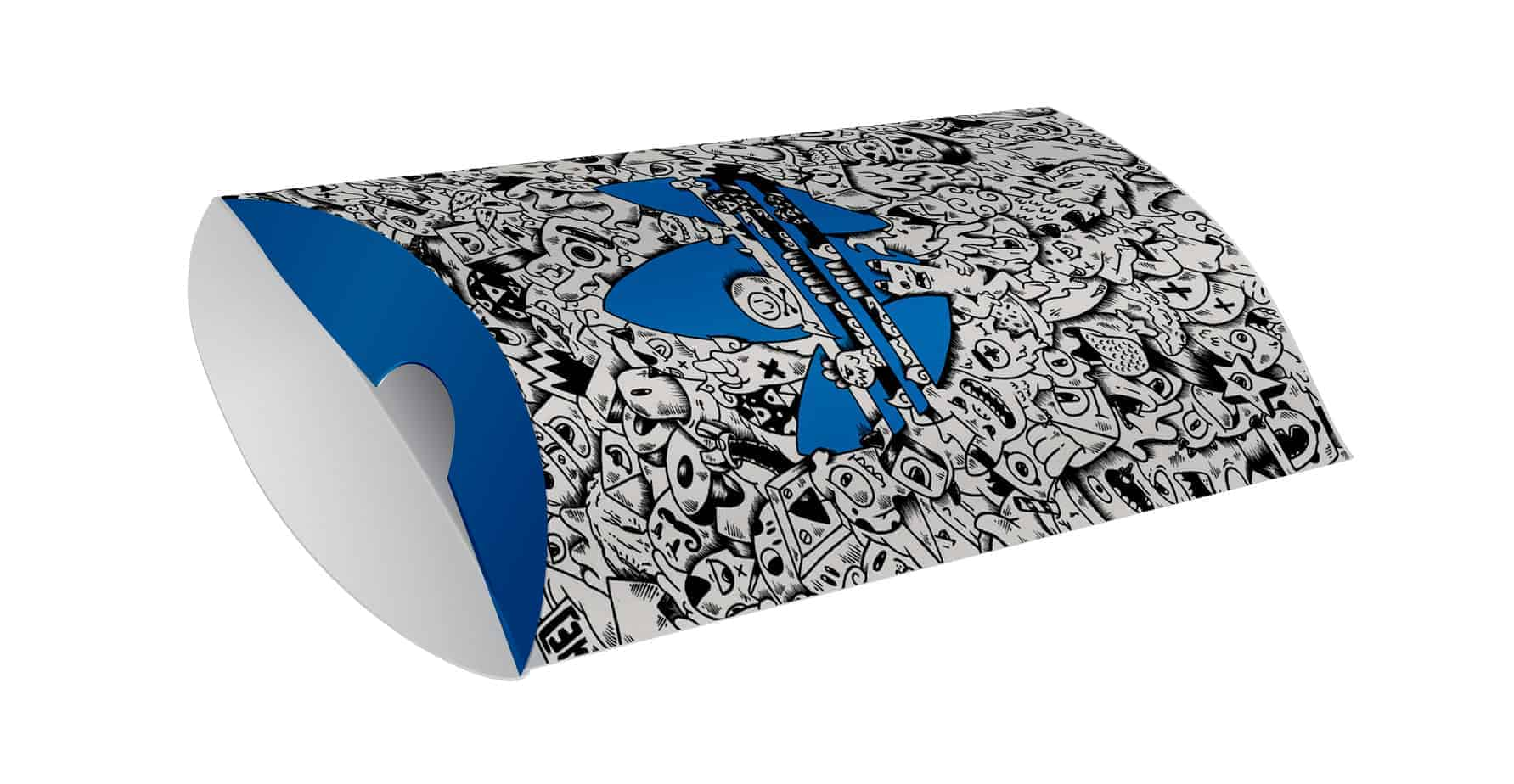Blue Black White Printed Pillow Boxes / Custom Pillow Boxes